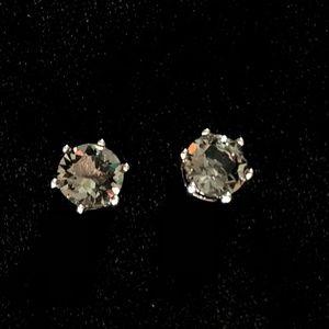Smokey Silver Crystal Studs